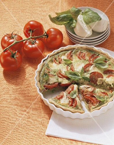 Tomato and mozzarella tart with basil