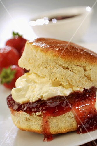 Scone with jam and clotted cream (England)