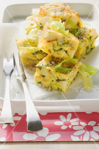 Cheese and leek frittata