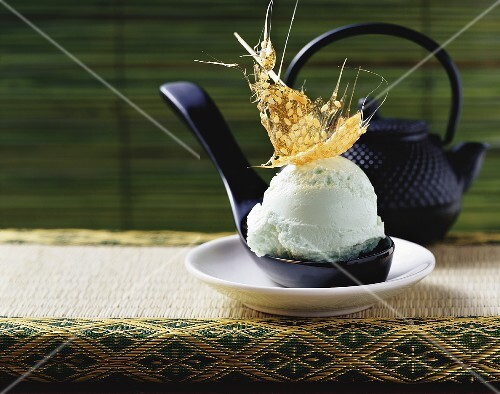Green tea ice cream with sesame praline