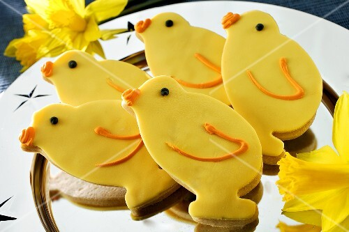 Easter chicks on a silver platter