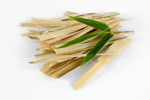 Strips of bamboo with bamboo leaf