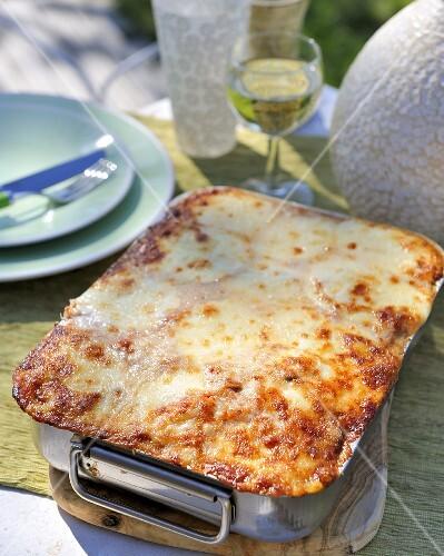 Mushroom, aubergine and pepper lasagne made with ricotta