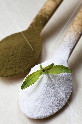 Stevia powder on a wooden spoon