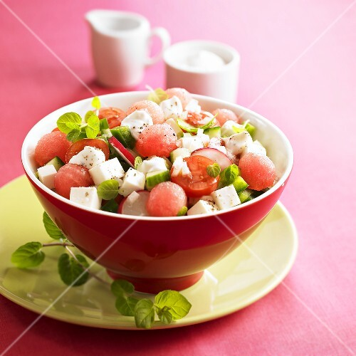 Tomato and watermelon salad with sheep's cheese
