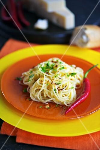 Spaghetti Aglio Olio mit Chilischoten