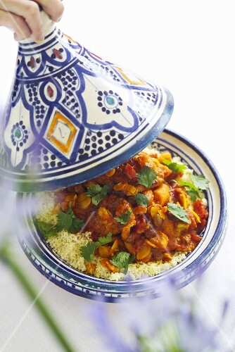 Chicken tajine with dried fruit and almonds (Morocco)