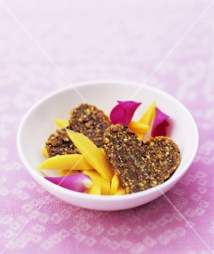 Nut and fig hearts with mango, rose water and rose petals