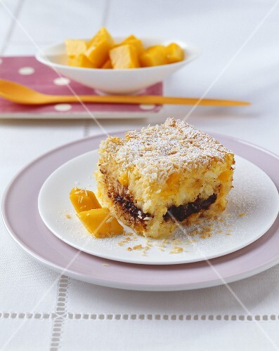 Baked rice dessert with chocolate and mango