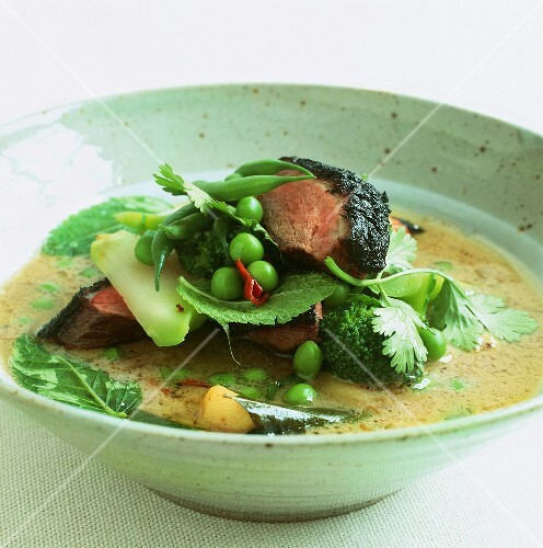 Vietnamese beef curry with baby aubergines and herbs