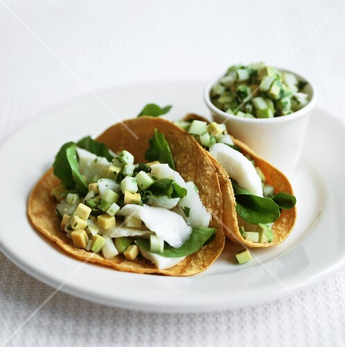 Tacos with turbot ceviche and avocado
