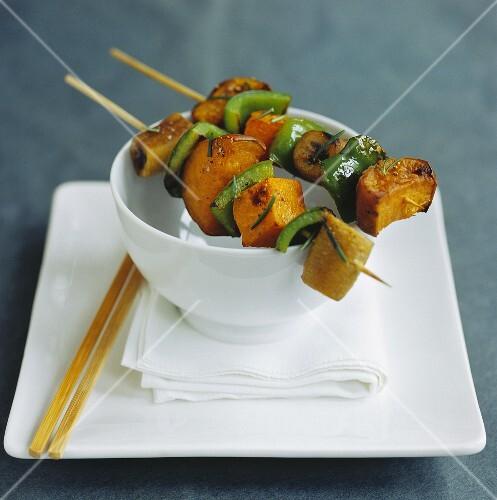 Pumpkin and pepper kebabs