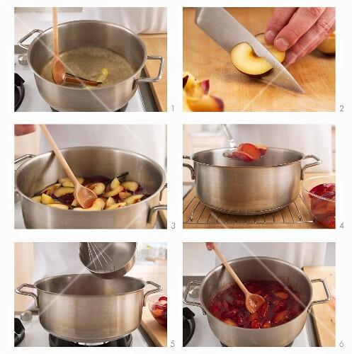 Pflaumenkompott zubereiten