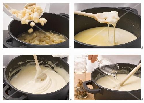 Käsefondue mit Greyerzer und Fontina zubereiten