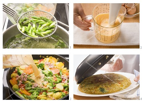 Country omelette with potatoes and vegetables being prepared