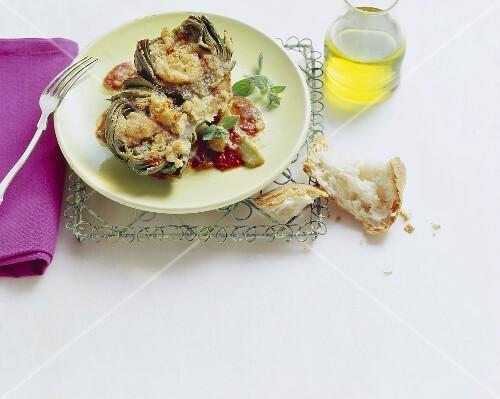 Carciofi gratinati (Artichokes au gratin, Italy)