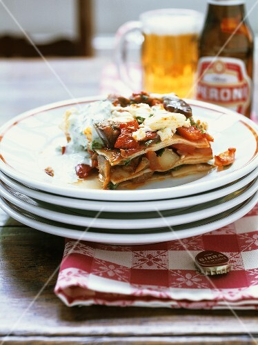 Aubergine and pepper lasagne with fresh goat's cheese
