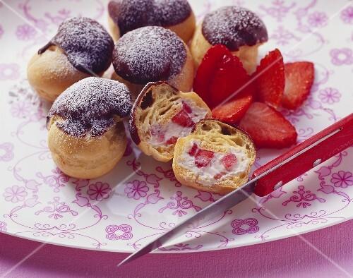 Strawberry & mascarpone profiteroles with chocolate icing