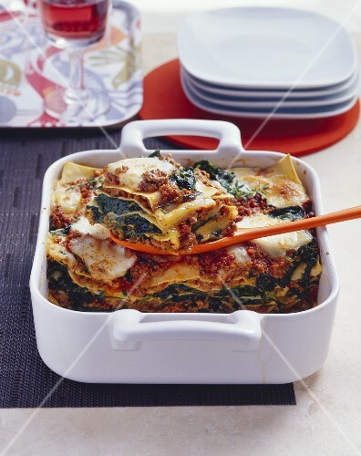 Spinach and mince lasagne
