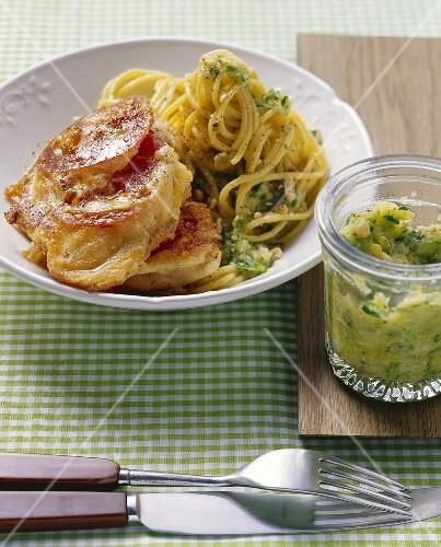 Piccata milanese with spaghetti