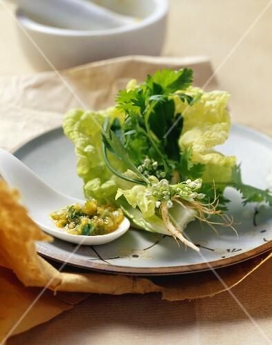 Spicy herb salad
