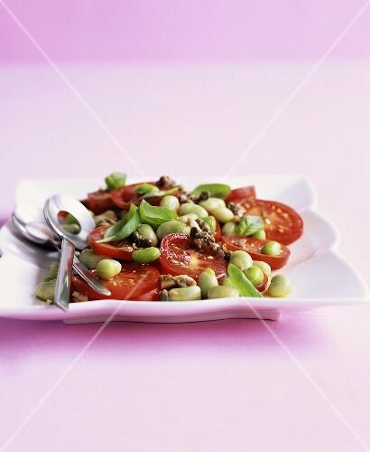 Insalata di pomodori con le fave (Tomato & broad bean salad)