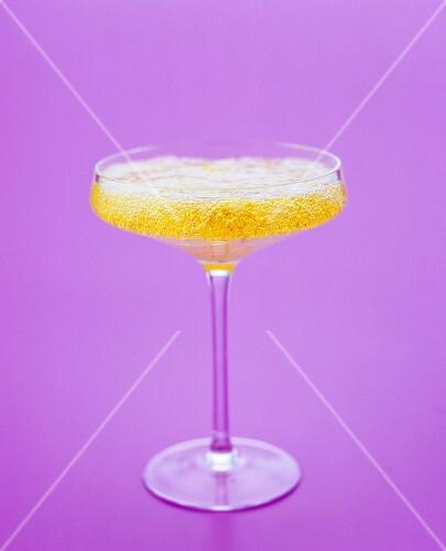 Prosecco and saffron jelly in a champagne coupe