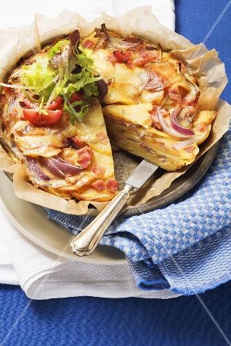 Pillekuchen (potato pancake from the Bergisches Land region, Germany)