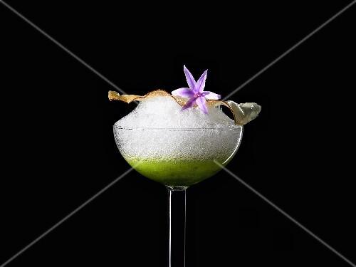 Cassava chips, lemon salt and tomato foam (molecular gastronomy)