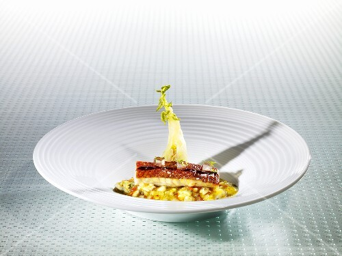 Red mullet, fennel stock, veal jus, Sauternes (molecular gastronomy)