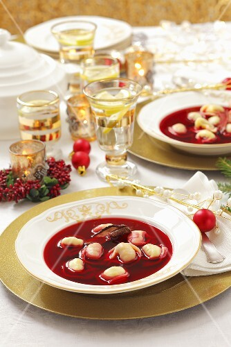 Borscht with Uszka (Polish stuffed dumplings) for Christmas dinner