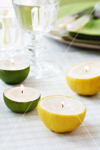 Candles in hollowed out lemon and lime halves