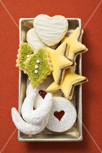 Various Christmas biscuits in a dish