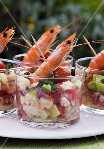 Prawn cocktail with tomatoes and avocados