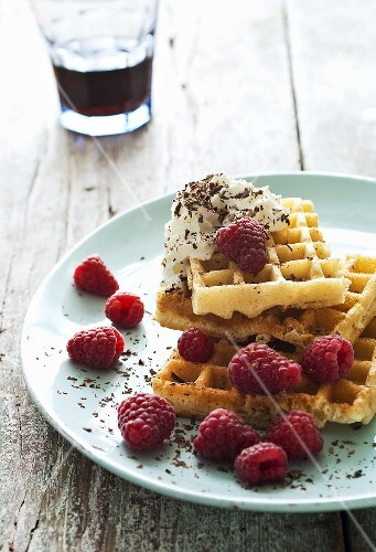 Waffles with raspberries and cream