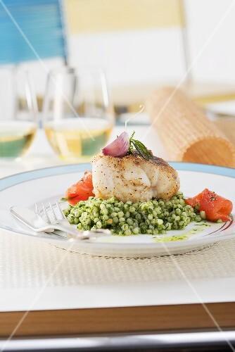 Monk fish on parsley and barley risotto