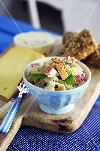 Plate of Waldorf Salad; Fork