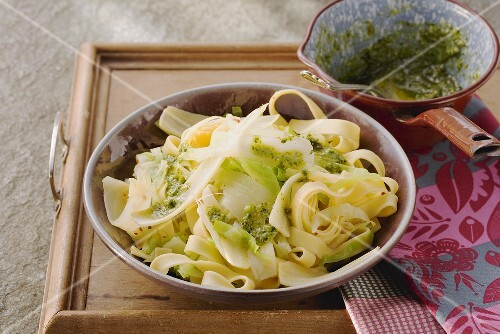 Tagliatelle with a parsnip and cabbage medley