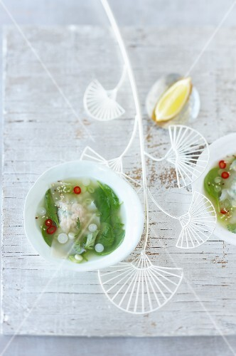 Lemongrass soup with prawn won-tons