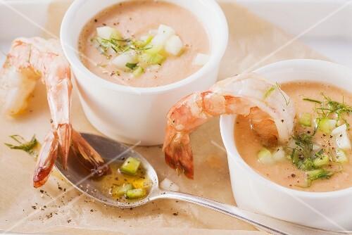 Gazpacho with garlic prawns