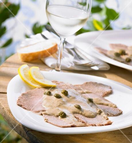 Vitello tonnato (Veal with tuna sauce and capers)