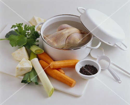 Ingredients for home-made chicken broth