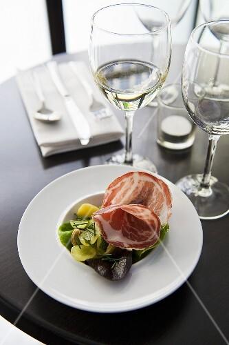 Pancetta and salad