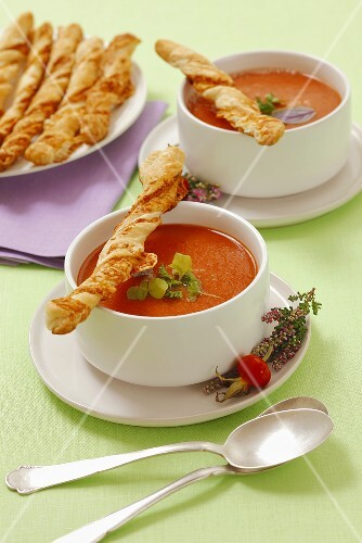 Tomato soup with homemade puff pastry sticks