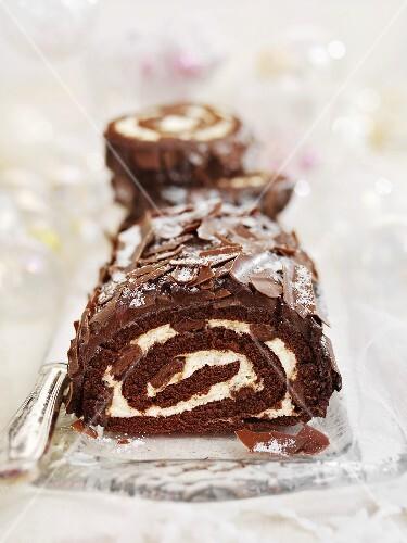Festive chocolate log (Christmas)