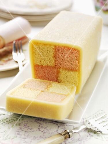 Battenburg cake, sliced