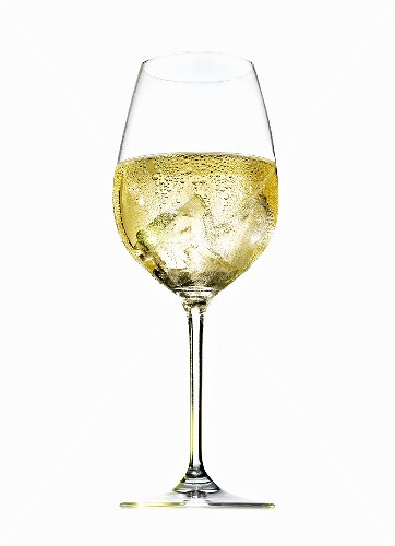 Glass of white wine spritzer (with condensation)