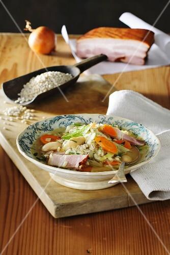 Ritschert (Barley, bean, belly pork and vegetable stew)