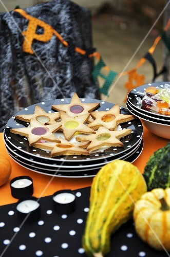 Star biscuits with sweets for Halloween