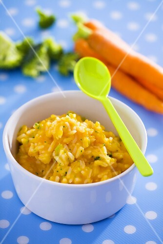 Carrot and broccoli puree with rice (baby food)